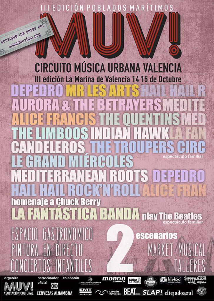 El Festival MUV! cierra su cartel para la 3ª Edición que se celebrará en Poblados Marítimo.